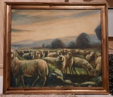 Antik festmény birkanyáj