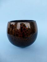 Gyönyörű,antik márvány mintás távol-keleti lakk fa váza,kaspó