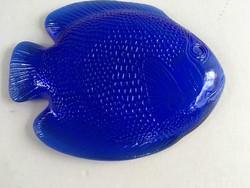 Kék üveg hal formájú, halas tálka