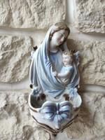 Antik szecessziós szentelt víz tartó,Mària,kis Jézus viràgok nagyobb méretű vallàsi antik porcelán