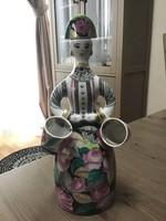 Nagyon ritka Lomonosov orosz kézzel festett porcelán kiöntő két pohárral
