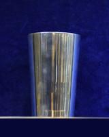 Elegáns, sima ezüst keresztelő pohár