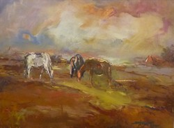 Sáska Tibor: Klárika lovai (olaj-farost) 43x50 cm