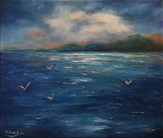 Távoli vízpart - Molnár Gabriella olajfestménye