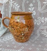 18*25 cm-es Gyönyörű  régi  kerámia szilke, köcsög, korsó, nosztalgia, paraszti dekoráció