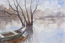 Ambrus Lajos: Tiszai csend (akvarell-karton) 35x50 cm