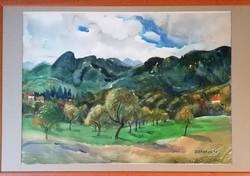 Bráda Tibor, Nagybányai tájkép! (Munkácsy-díjas festőművész) nagy méretű akvarellje!
