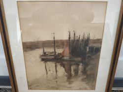 Antik akvarell kréta papír szignált vitorlás hajók tájkép festmény keretben üveg alatt Nr 95.