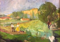 POGÁNY GÉZA /1927-2001/ : Tájkép alakokkal,kerettel 60 x 70 cm,olaj-vászon