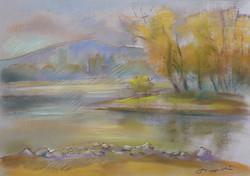 Szappanos István: Dunaparti ősz  (pasztell-karton) 46x54 cm