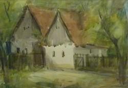 Tóth László: Sukorói házak (akvarell-papír) 21x30 cm