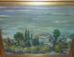 Kesztyűs Ferenc: BALATON - olaj-farost kerettel 69,5x89 cm - víz, tájkép, tó, tavas, természet
