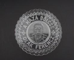 Igazi ritkaság antik 1800-as évekbeli üveg Deák Ferenc A Haza Bölcse dísztárgy emléktárgy relikvia