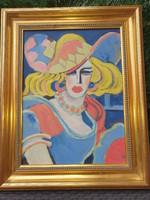 Festmény Scheiber szignóval -Kalapos Hölgy-