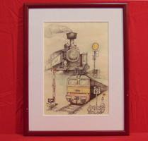 'Vonat ősök', 2006 - Nagyon részletgazdagon elkészített grafikai munka Nyugat-Európából