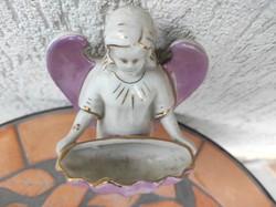 Szenteltvíz tartó porcelán, biszkvit szàrnyas angyalka, antik 100 éves legalább