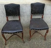 Bécsi barokk, rokokó, székek párban, eredeti bőr huzattal! 1800as évekből felújításra!