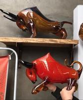 Gyűjteményből kínálom megvételre: Óriási muranói üveg bika, kuriózum műalkotás (piros)
