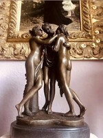 Hatalmas három grácia - bronz szobor műalkotás