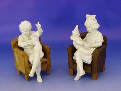 0I026 Régi HERLENA biszkvit porcelán szobor pár