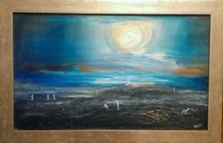 Kéktúra. 65x40 cm-es kép, porcelánmasszával domborítva. Károlyfi Zsófia Prima díjas alkotó műve.