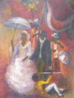 Séta a korzón - színpompás olajfestmény ritkaság (30x40 cm) - tarka, díszes menet, esküvő, cilinder