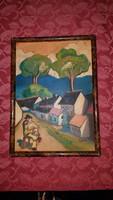 Scheiber: Lombos fás utcán. Festmény, tájkép, olaj, fa 23,5 x 32,3 cm.