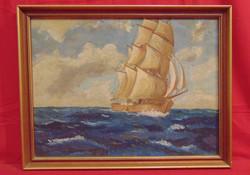 'Vitorlás a háborgó tengeren' - Szépen megfestett olaj alkotás szépen keretezve a 70-80-as évekből