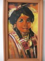 (festmény) Indián kislány portré