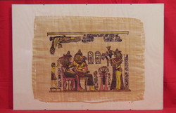 Egyiptom I. - Szépen elkészített tipikus egyiptomi, királyokat ábrázoló színezett nyomat