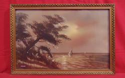 Máyer B.: Vitorlások a naplementében - Nagyon szépen megfestett tengerparti látkép /50-60-as évek/