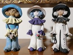 Régi kerámia kalapos hölgyek gyűjtemény (Ér-536)