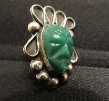 Vintage Taxco zöld faragott maja vagy azték ezüst fülbevaló különlegesség