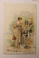 Antik levelezőlap, képeslap, újévi üdvözlőlap, 1900-as évek eleje