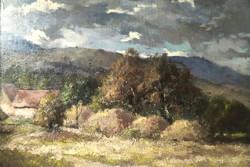 Ujhegyi Gyula szignóval ellátott; Vidéki táj festmény