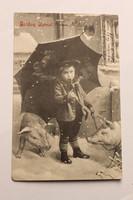 Antik levelezőlap, képeslap, újévi üdvözlőlap, 1907