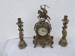 Kandalló óra  két darab gyertyatartóval