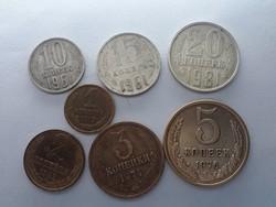Orosz 1, 2, 3, 5, 10, 15, 20 Kopek sor - 7db Kopek pénzérme 1961-1983-ig - Kopek LOT eladó