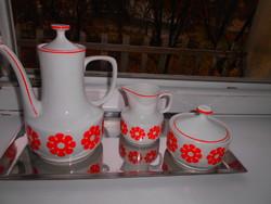 3 db Hollóházi   retro piros virág mintás kávéskanna+kiöntő+ cukortartó-az ár a 3 db-ra vonatkozik