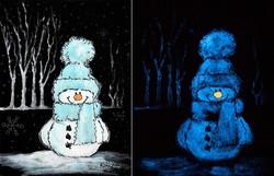 Vidám hóember - sötétben világító akrilfestmény - glow in the dark