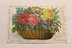 Antik levelezőlap, képeslap, újévi üdvözlőlap, 1902