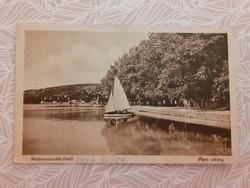 Régi képeslap 1947 Balaton vitorlás hajó levelezőlap