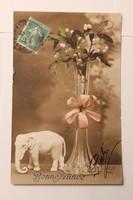 Antik francia levelezőlap, képeslap, újévi üdvözlőlap, 1910