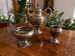 Antik pazar empire ezüst teás készlet! 1410 gramm.