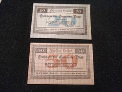 Hajtatlan 20-50 Heller pár 1920