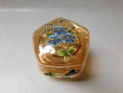 Antik, kézzel festett ibolyás üvegdobozka