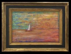 Czeglédy: Vitorlás a nyílt vízen - Kellemes színvilággal megfestett alkotás a 70-80-as évekből