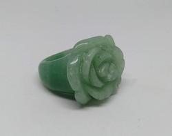 Természetes faragott rózsa fejes zöld aventurin gyűrű