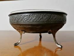 Alpakka asztalközép kínáló üvegbetéttel (Ér-544)
