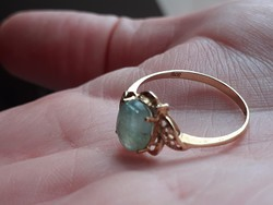 Valódi klasszikus smaragd bevizsgalt arany gyűrű 8 as ( 57) meret